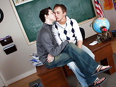 Teacher is sitting at his desk looking so good boys first sex experience at Teach Twinks