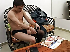 Aroused aside sexy images from a magazine Agustin feels irresistible persuade to go for his little crossdressing session gay jerk off clips