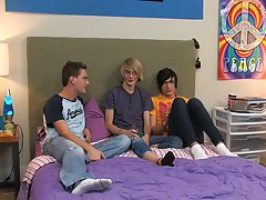 It's a sexy slumber party with three twinks and they bring out an empty bottle to try that wonderful hookup game that has gotten so many guys so