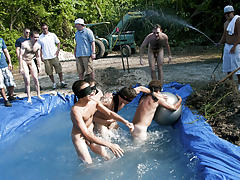 these poor pledges had to play blind folded in this hole in the ground filled with water all male nudist groups free