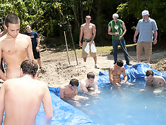 There is nothing  a nice summer time splash, first of all when the pool is man made and ghetto rigged as fuck group sex gay guys