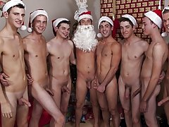 Then a man by one these obnoxious elves let loose and spray cum all over Santa giving him a Caucasian Christmas bicurios male masturbatio at Broke Col