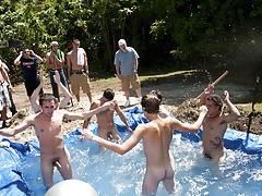 I mean its not embarrassing enough playing naked in a nasty fake pool gay foot toe fisting groups