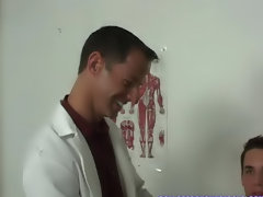 The two medical professionals went back and forth on sucking on Chad's dick my first time gay sex wit