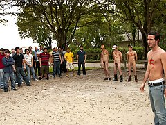 The 3 winners get their prizes in the horse stable, and ooohhhh what a bunch of great prizes teen gay group sex
