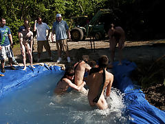 There is nothing like a nice summer time splash, especially when the pool is man made and ghetto rigged as fuck naked mens group
