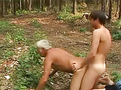 Deep forest boy and hoary man sex outdoors gay