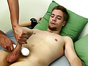 We teased Sean a bit with the rubber dildo, but we didn't really use it instead we continued to jerk his dick with the Fleshlight and hand action