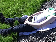 Boy bulge in outdoor photo and male teen...