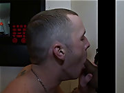 Gay kneeling blowjob cumming and gay...