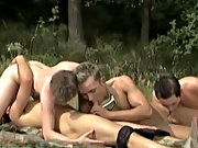 Four lads promptly released into some hot sex outside when they move away from the lake side, engaging their inflatable with them gay outdoor penis
