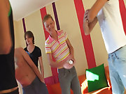 Young 18 years old lad is bored!? That is just impossible... he must be entertained for sure gay group sex party at Crazy Party Boys