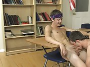 When one of the twinks pulls down his pants to prove the superiority of his ass, things get out of control first time gay sucking cock at Teach Twinks