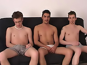 Time to switch and Angel laid down and Sean and Maverick took turns in sucking on his dick my first time gay stories