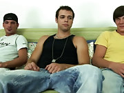 Both boys jerked hard on their cocks in a race to cum  first free gay group sex videos