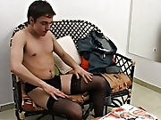 Aroused by sexy ims from a magazine Agustin feels irresistible spur to go for his  crossdressing session nude male masturbatio