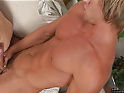 Erik slobbers on Joey's fat cock until he is rock incontestable then he bends  and lets Joey drive that cock right up his ass gay twink military