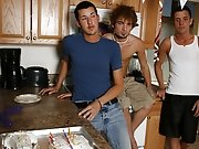 Jordan then climbs up on the counter so that Aaron can tool his ass with the red vibrator as he strokes his basics until he too releases a huge cum ba